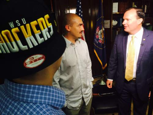 Thomas Burr     The Salt Lake Tribune  Weldon Angelos, a Utahn recently released from prison who has become the poster child for criminal justice reform, meets with Sen. Mike Lee, R-Utah, on Wednesday in Washington while television crews capture the moment.