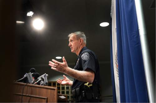 Scott Sommerdorf   |  The Salt Lake Tribune   UPD's Jim Winder speaks to the media with an update on the arrest / shooting of suspect involved in the slaying of Magna woman, Friday, June 3, 2016.