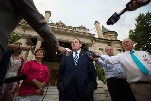 Steve Griffin  |  The Salt Lake Tribune  Gov. Gary Herbert and first lady Jeanette Herbert are joined by Lt. Gov. Spencer Cox and Abby Cox as they address the media to discuss their primary election victory on the western steps of the Governor's Mansion in Salt Lake City on Tuesday, June 28, 2016.