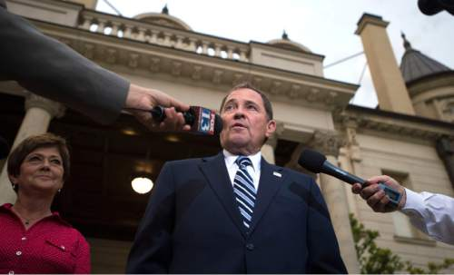 Steve Griffin  |  The Salt Lake Tribune  Gov. Gary Herbert won his Republican gubernatorial primary election Tuesday, June 28, 2016. The governor defeated Overstock Chairman Jonathan Johnson.