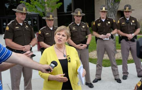 Al Hartmann     The Salt Lake Tribune  Utah AAA spokesperson Rolayne Fairclough joins members of the UHP at a news conference in Taylorsville Wed. June 29 asking people to slow down and drive safely this Fourth of July weekend which expected to have the heaviest traffic of the year.