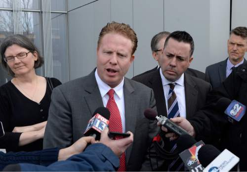 Al Hartmann     The Salt Lake Tribune  Jeremy Johnson comments to media as he leaves Federal Court in Salt Lake City in March after being found guilty of making false statements to a bank.
