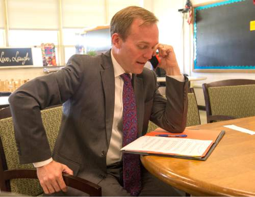 Rick Egan  |  The Salt Lake Tribune  Mayor Ben McAdams takes part in a White House Conference call, discussing a new program where counties can use data to evaluate their criminal justice systems, at Kearns Junior High School. Salt Lake County is a participant in the program. Thursday, June 30, 2016.
