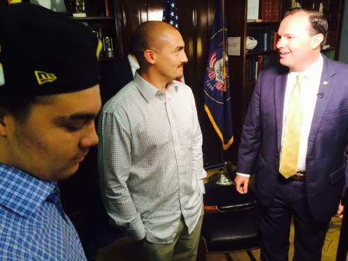 Thomas Burr  |  The Salt Lake Tribune  Weldon Angelos, a Utahn recently released from prison who has become the poster child for criminal justice reform, meets with Sen. Mike Lee, R-Utah, on Wednesday in Washington while television crews capture the moment.