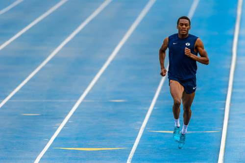 Trent Nelson  |  The Salt Lake Tribune BYU track star Shaquille Walker works out in Provo, Wednesday April 22, 2015.