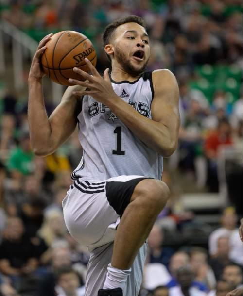 Francisco Kjolseth | The Salt Lake Tribune Kyle Anderson of the San Antonio Spurs works his way to the basket against Boston during the NBA Summer League basketball game at Energy Solutions Arena on Thursday, July 9, 2015, in Salt Lake City.