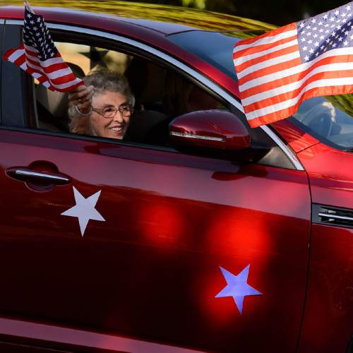 Trent Nelson  |  The Salt Lake Tribune Maideen Mason, Grand Marshal in the Freedom Parade in Hurricane, Monday July 4, 2016.
