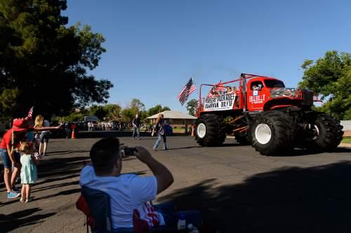 Trent Nelson  |  The Salt Lake Tribune The Hillbilly Deluxe Monster Truckin the Freedom Parade in Hurricane, Monday July 4, 2016.