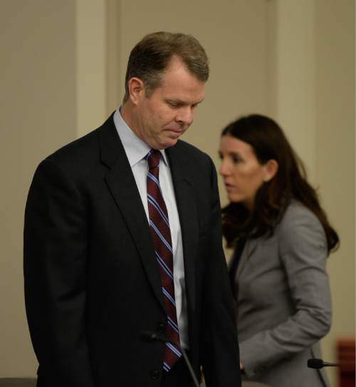 Francisco Kjolseth | The Salt Lake Tribune John Swallow, appears at the Matheson Courthouse on Tuesday, April, 12, as he asks for a preliminary hearing to hear the details of the evidence prosecutors have relied upon in bringing more than a dozen bribery and public-corruption charges against the former Utah attorney general.