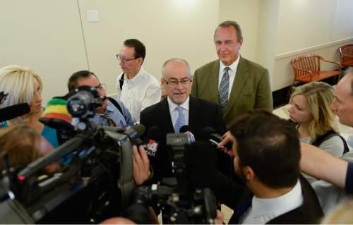 Francisco Kjolseth | The Salt Lake Tribune Defense attorney Richard Van Wagoner addresses the media following former Utah Attorney General Mark Shurtleff's appearance in court, facing public corruption charges on Monday, Sept. 28, 2015, for a pre-trial hearing.