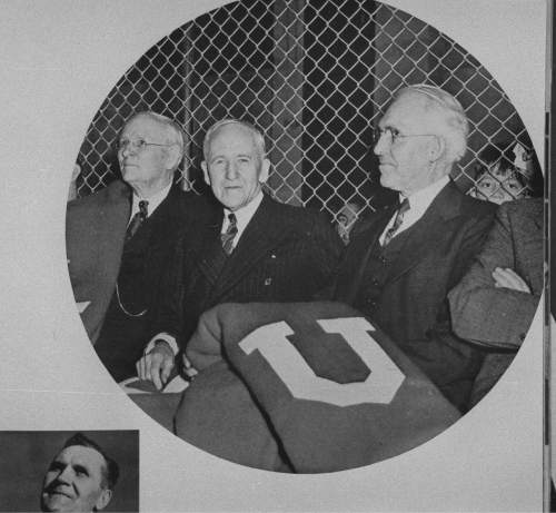|  Tribune File Photo  University of Utah President Thomas, at right, Gov. Blood and  Chairman of the Board of Regent's Thatcher preside at the dedication ceremony for the new Einar Nielsen Fieldhouse game.