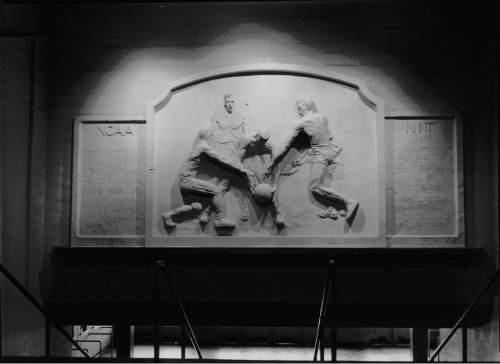 A basketball sculpture inside Einar Nielsen Fieldhouse celebrated Utah's NIT and NCAA championships.  Courtesy Special Collections, Marriott Library, University of Utah