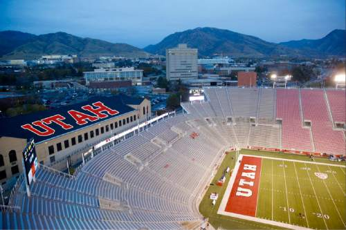 """Courtesy of Mark Sargent A rendering shows a fan-led project that has since painted  """"UTAH""""  on the roof of the Einar Nielsen Fieldhouse, visible for spectators at Rice-Eccles Stadium."""
