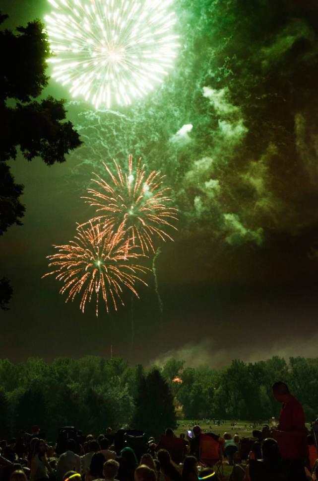 Rick Egan  | Tribune file photo  Fireworks explode over Sugar House in Salt Lake City.  Air monitors reported spikes in particulate pollution this July 4th in Weber, Utah, Cache and Davis counties.