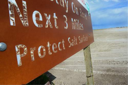 Scott Sommerdorf   |  The Salt Lake Tribune   One of the numerous signs warning motorists to stay off the salt flats near the Bonneville Speedway, Friday, May 27, 2016.