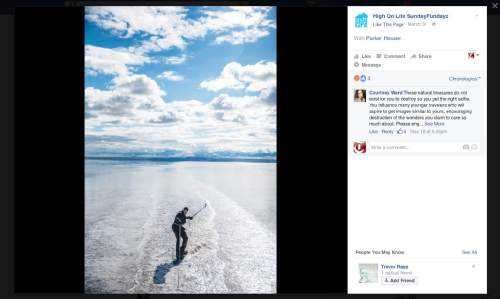 This screenshot of the High On Life Facebook page shows Parker Heuser waterskiing behind an RV on the Salt Flats west of Salt Lake City.