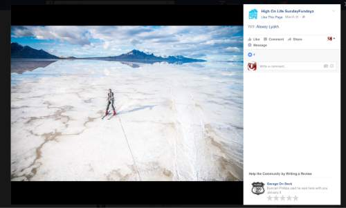 This screenshot of the High On Life Facebook page shows Alexey Lyakh waterskiing behind an RV on the Salt Flats west of Salt Lake City.