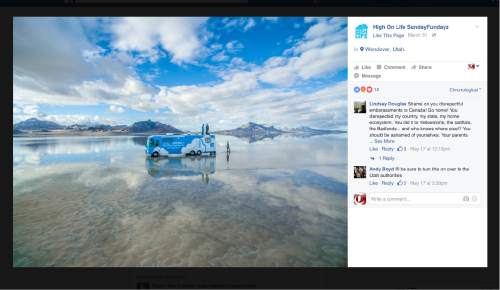 This screenshot of the High On Life Facebook page shows an RV on the Salt Flats west of Salt Lake City.