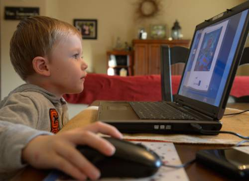 Rick Egan  | The Salt Lake Tribune   Five-year-old Ashton VanLeeuwen  works on the UPSTART preschool software program at his home in West Jordan on Wednesday, January 22, 2014.