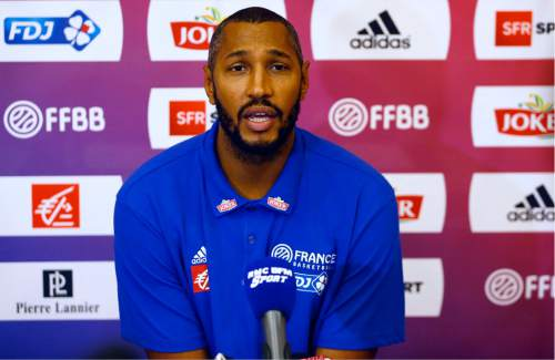NBA player Boris Diaw of San Antonio Spurs and playing for France talks to  the media 8c89f3f0c