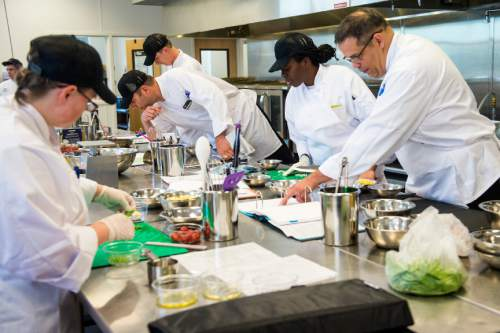 Chris Detrick  |  The Salt Lake Tribune Students prepare a lunch during the second day of Culinary Command, a free training program for veterans and active military.  Wednesday June 1, 2016.