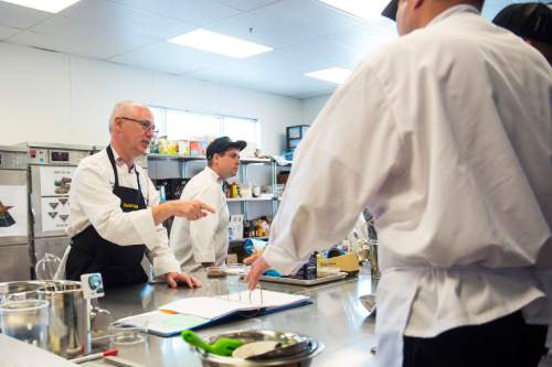 Chris Detrick  |  The Salt Lake Tribune Culinary Command Executive Chef David Robinson talks with his students during the second day of training at the Community Action Program kitchen in Salt Lake City. Wednesday June 1, 2016.