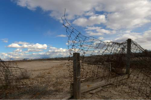 Leah Hogsten  |  The Salt Lake Tribune Wood and wire is all that is left to mark the Topaz Japanese internment camp's baseball diamond. To mark the day Day of Remembrance, February 19, 1942, the day President Roosevelt signed the order requiring Japanese Americans living along the West coast into inland internment camps, two busloads of members of the Japanese American Citizens League traveled from Salt Lake City to Delta, Saturday, February 21, 2015, to tour the Topaz Museum and the site of the former internment camp 16 miles to the northwest outside of Delta.