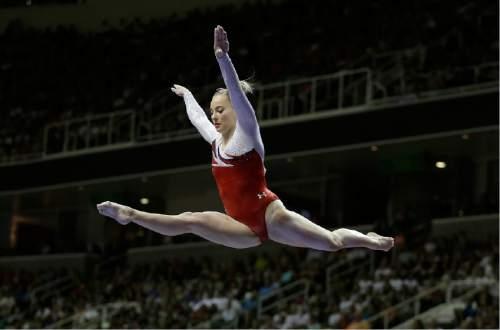 MyKayla Skinner competes on the balance beam during the women's U.S. Olympic gymnastics trials in San Jose, Calif., Sunday, July 10, 2016. (AP Photo/Ben Margot)