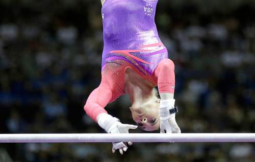 MyKayla Skinner competes on the uneven bars during the women's U.S. Olympic gymnastics trials in San Jose, Calif., Friday, July 8, 2016. (AP Photo/Ben Margot)
