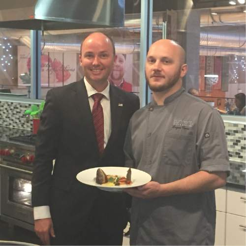 Courtesy Photo  Utah Lt. Gov. Spencer Cox, left, is confident that Logen Crew, the executive chef at Current Fish & Oyster in Salt Lake City, can win a national seafood competition using Utah trout.