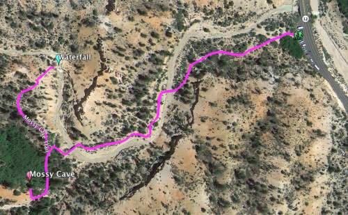 Courtesy     Google Earth  Mossy Cave trail map.