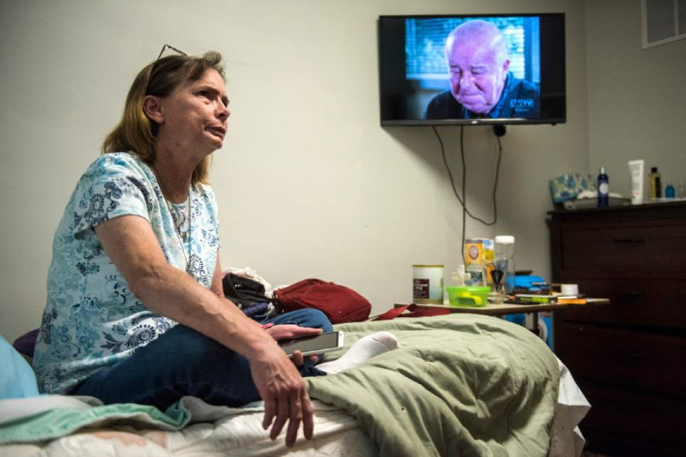 Chris Detrick  |  The Salt Lake Tribune Linda Payne rests in her room at The Inn Between Tuesday June 28, 2016.