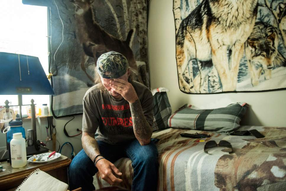 Chris Detrick  |  The Salt Lake Tribune Robert Burr rests in his room at The Inn Between Tuesday June 28, 2016.