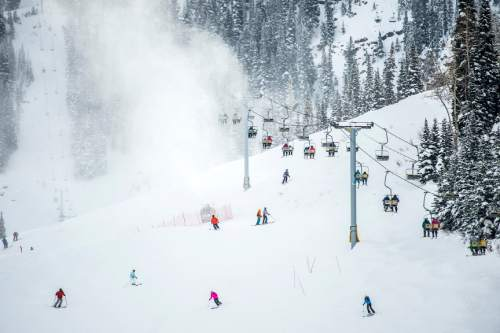 Chris Detrick  |  The Salt Lake Tribune Skiers go down Lowest Bassackwards and ride up the Mid-Gad lift at Snowbird Wednesday December 30, 2015.