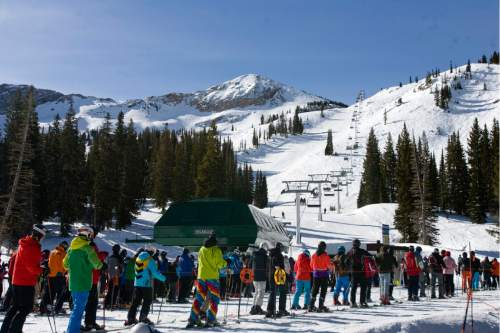 |  Tribune File Photo  People wait in line to board the Sugarloaf lift at Atla Ski Area on Presidents Day on February 18, 2012.