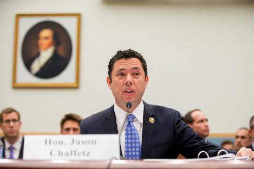 Andrew Harnik | AP file photo House Oversight and Government Reform Committee Chairman Jason Chaffetz, R-Utah, denies his opponent's charge he is using government resources to advance his campaign.