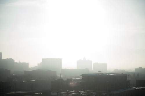 Jeremy Harmon  |  The Salt Lake Tribune  Downtown Salt Lake City is covered in an inversion layer Friday, Jan. 9, 2015.