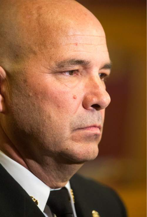 Rick Egan  |  Tribune file photo  Salt Lake City Fire Chief Brian Dale, shown here after his swearing in last June,  has denied allegations that Fire Station No. 2 was in violation of code with inadequate smoke detectors when a fire broke out March 2, 2015.