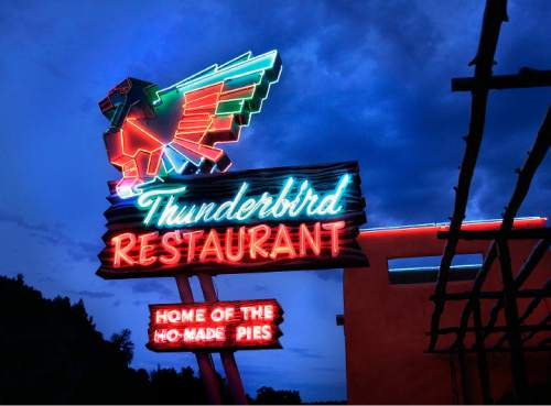"Tribune file photo  Thunderbird Restaurant in Springville, with its legendary sign advertising ""ho-made"" pies."
