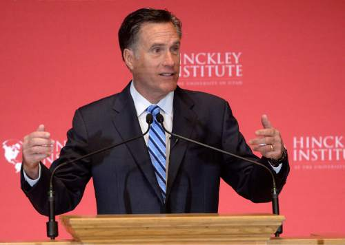 Al Hartmann  |  Tribune file photo  Former presidential candidate Mitt Romney makes a speech about the state of the 2016 presidential race and Donald Trump at the Hinckley Insitute of Politics at the University of Utah Thursday, March 3, 2016.