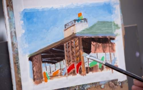 Rick Egan  |  The Salt Lake Tribune  Mona Woolsey, Cedar City, paints with the Kolob Plein Air Painters at the new Beverley Taylor Sorenson Center for the Arts, Cedar City, Thursday, July 7, 2016.