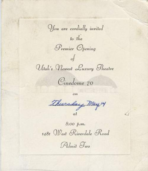 Courtesy  |  Mark Tullis  An invitation to the grand opening of the Cinedome, May 14, 1970.