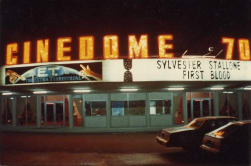 Courtesy  |  Mark Tullis  The marquee of the Cinedome 70 in December 1982.
