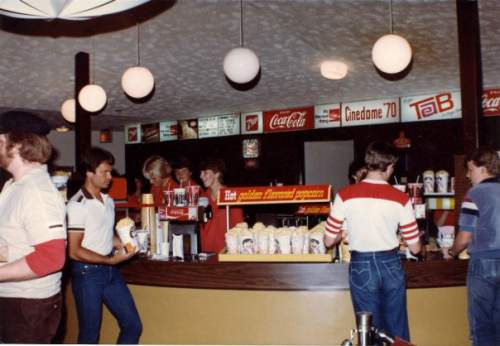 Courtesy  |  Mark Tullis  The Cinedome theater utilized a self-service snack bar, shown here in June 1983, to quickly move patrons through the line for concessions.