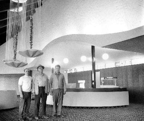 Courtesy  |  Mark Tullis  Original owners Ray Hansen, Roy Tullis and Darrell Tullis stand in the newly-completed lobby of the Cinedome 70 in 1970.