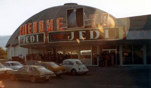 "Tribune file photo A line of people waits to see ""Return of the Jedi"" at the Cinedome 70 in 1983."