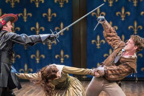 Karl Hugh  |  Copyright Utah Shakespeare Festival  2016  Jack Lafferty (left) as Rochefort, Kelly Rogers as Constance Bonacieux, and Luigi Sottile as D'Artagnan in  a scene from the Utah Shakespeare Festival's 2016 production of The Three Musketeers.