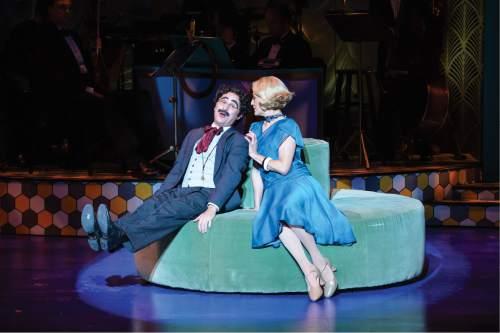 Karl Hugh     Copyright Utah Shakespeare Festival 2016  John Plumpis (left) as Mr. Hammer (Groucho) and Melinda Parrett as Penelope Martin in the Utah Shakespeare Festival's 2016 production of The Cocoanuts.