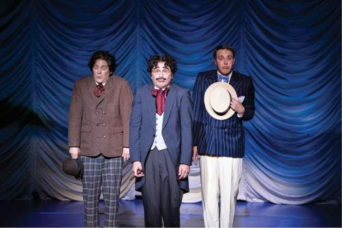 Karl Hugh     Copyright Utah Shakespeare Festival 2016  Jim Paulos (left) as Chico (Willie Wony Diddydony), John Plumpis as Mr. Hammer (Groucho), and John Wascavage as Robert Jamison (Zeppo) in the Utah Shakespeare Festival's 2016 production of The Cocoanuts.