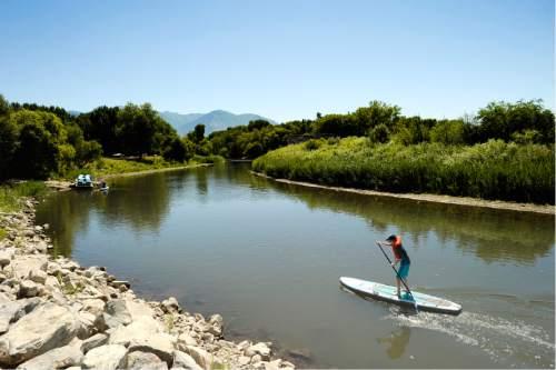 Rick Egan  |  The Salt Lake Tribune  Trenton DeLong 12,  Mesa Arizona, paddles up the Provo River, at Utah Lake State Park, Thursday, July 14, 2016.